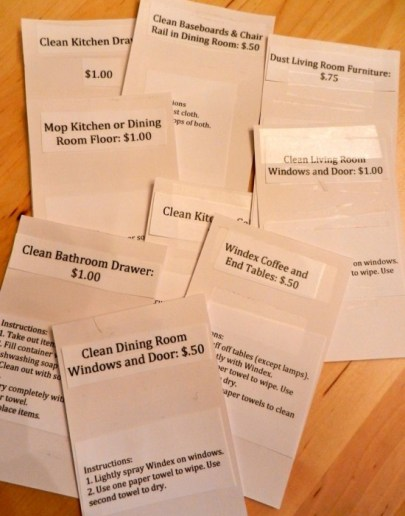 chore system for kids to earn money