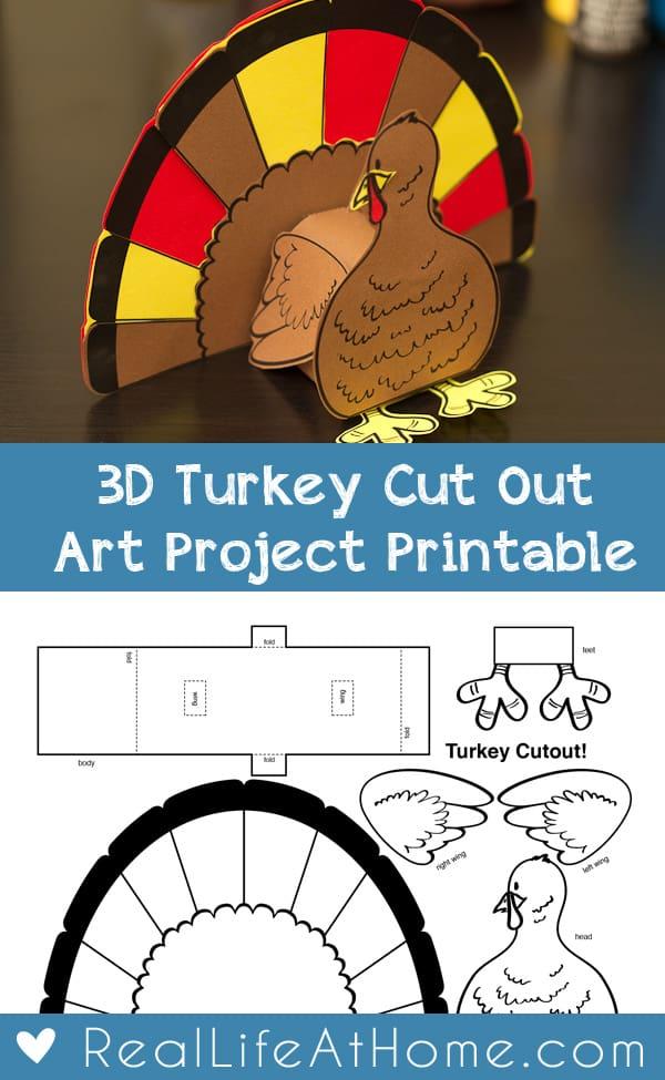 photograph regarding Turkey Cutout Printable named Thanksgiving 3D Turkey Cutout Downloadable Artwork Undertaking for Small children