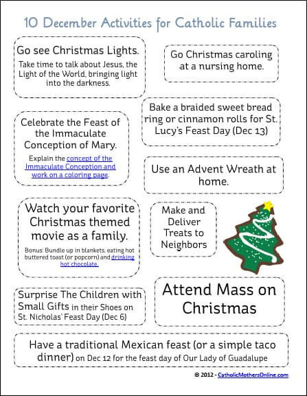 10 Activities for Catholic Families in December