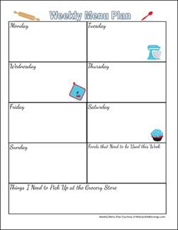 Free Printable Weekly Menu Planning Page