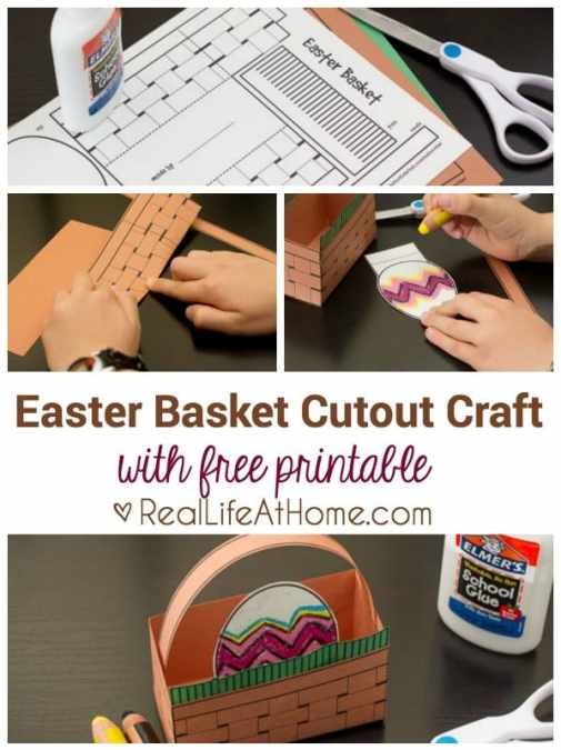 easy easter basket craft for kids with free printable cutout template