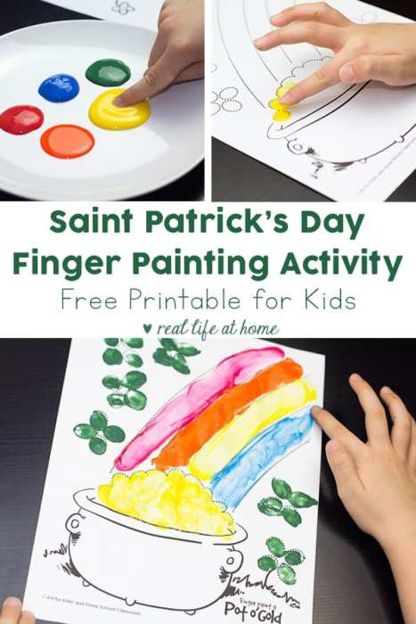 Fun Saint Patrick's Day finger painting activity for your kids (and you). Finger paint a pot of gold! Download the free Saint Patrick's Day coloring page and have fun!