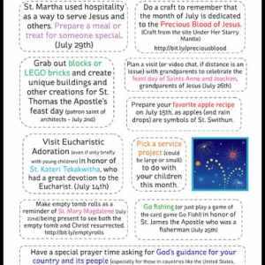 10 July Activities for Catholic Families