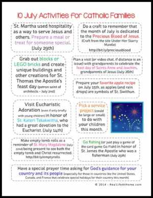 10 July Activities for Catholic Families free printable