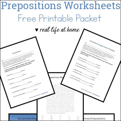 Prepositions Worksheets - Free Preposition Printable Packet