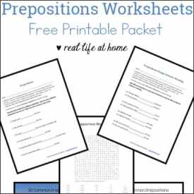 Prepositions Worksheets – Free Preposition Printable Packet