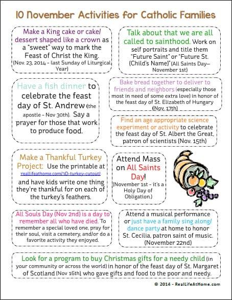 November Activities for Catholic Families Printable | RealLifeAtHome.com