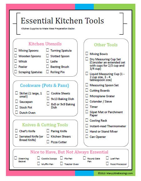 Essential Kitchen Tools For Easier Meal Preparation Printable Checklist