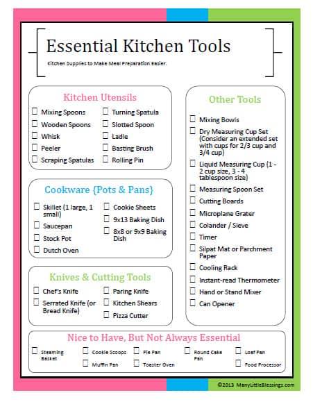 Essential Kitchen Tools Checklist