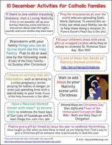 10 December Activities for Catholic Families Printable | reallifeathome.com