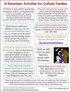 10 December Activities for Catholic Families Printable
