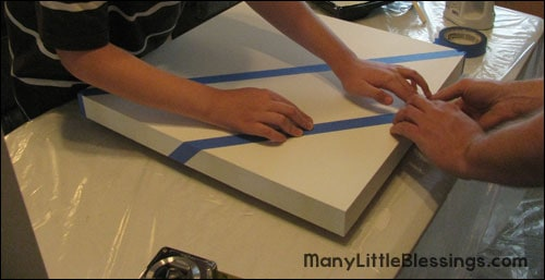 adding painters tape to the ombre table project
