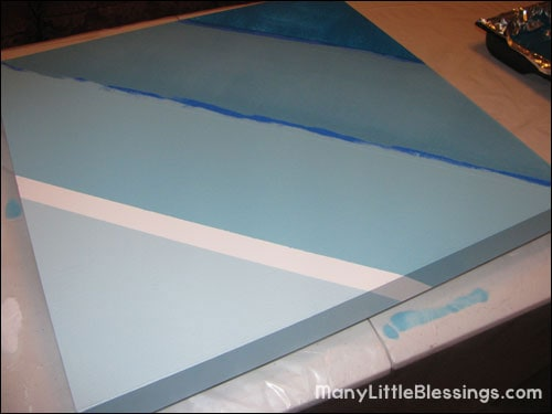 removing painters tape from the ombre table