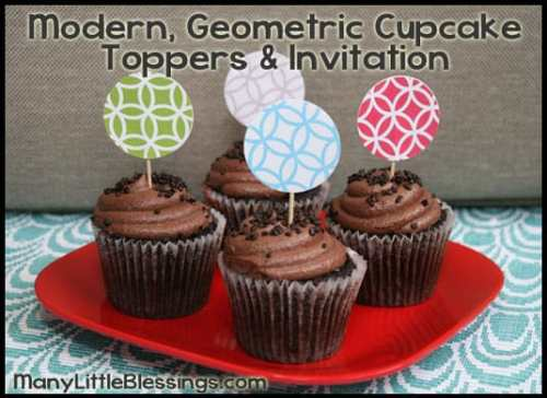 Modern, Geometric Cupcake Toppers Set and Invitation Printable