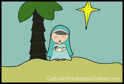 Mary and Baby Jesus Coloring Page Computer Colorization