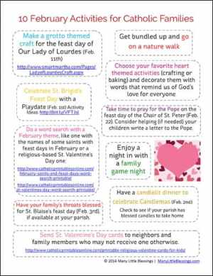 10 February Activities for Catholic Families Printable