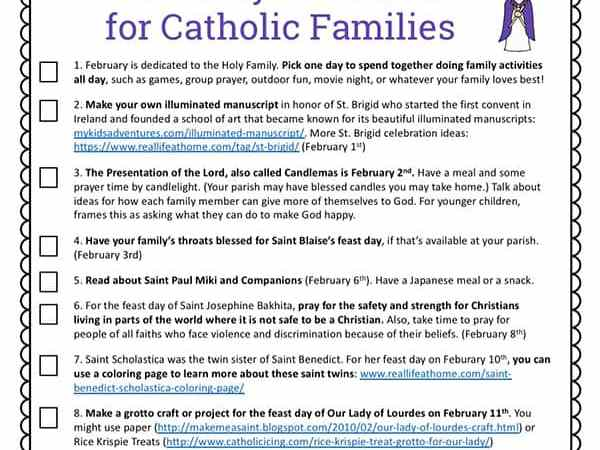 12 Activities for Catholic Families in February (Free Printable)