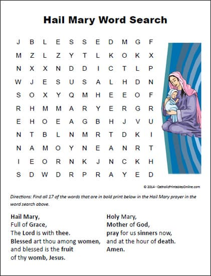 Hail Mary Word Search Printable (Free Download on RealLifeAtHome.com)