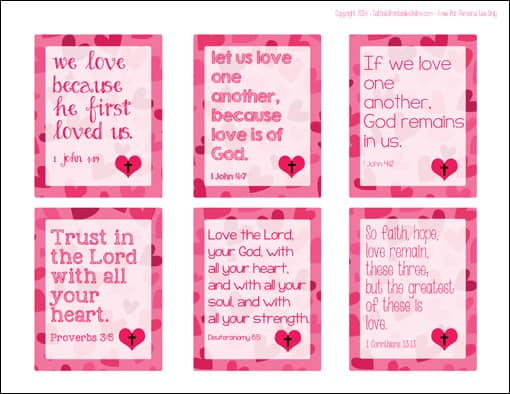 Looking for religious valentine cards? These Free Printable Bible Verse Valentines for Kids are your perfect solution! | Real Life at Home
