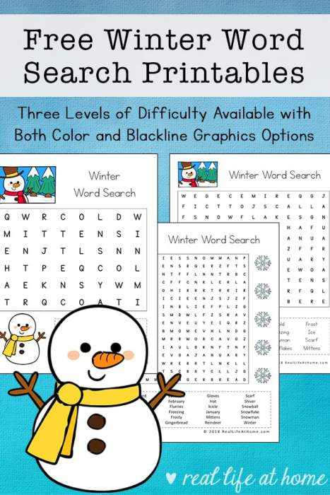 Free Winter Word Search Printable for Kids (with Three ...