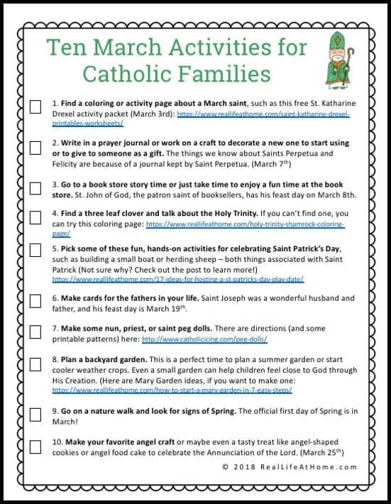 10 March Activities for Catholic Families Printable