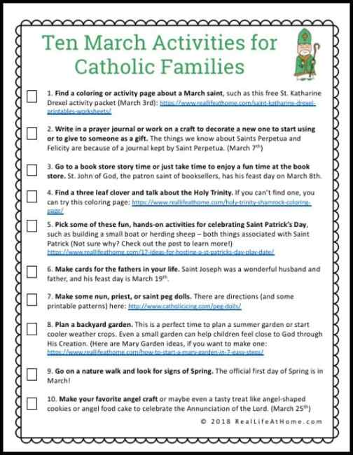 A free printable with 10 March activities for Catholic families to do together throughout the month in order to promote family togetherness and grow in faith.
