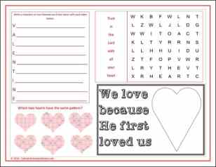 St Valentine's Day Activity Placemat