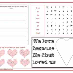 St Valentine activity placemat page