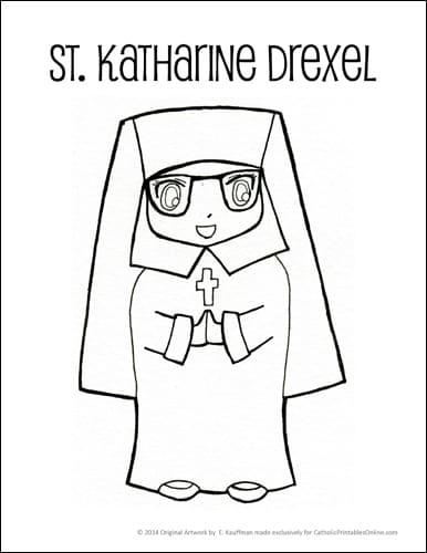 St. Katharine Drexel Coloring Page