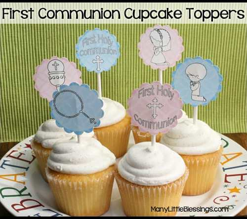 First Communion Cupcake Toppers Printable
