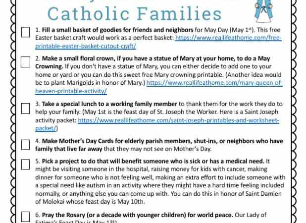 10 May Activities for Catholic Families Printable