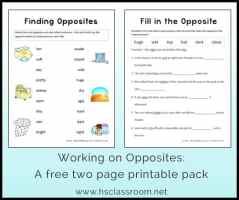 opposites worksheets for kindergarten and preschool antonyms  opposites worksheet packets