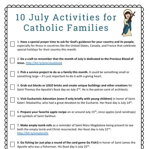 photo relating to Making 10 Games Printable called 10 July Routines for Catholic Family members Free of charge Printable