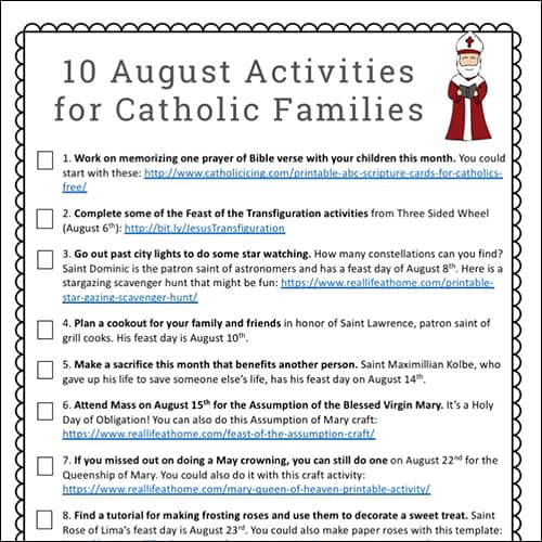 August Activities for Catholic Families Free Printable
