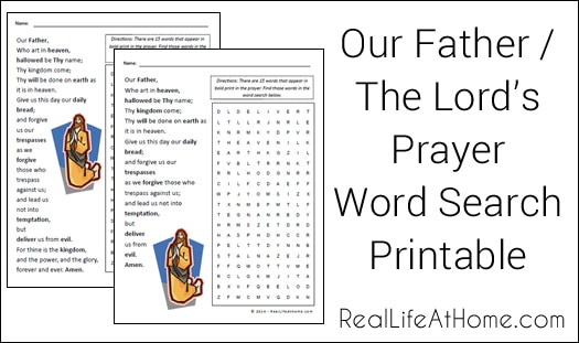 Lord's Prayer Word Search Printable / Our Father Word Search Printable