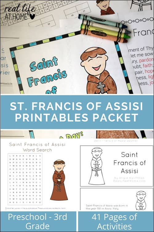 St. Francis of Assisi Printables and Worksheets featuring 41 pages of activities for a variety of ages and abilities