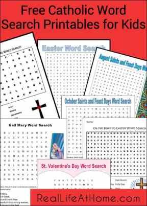 Free Catholic Word Search Printables for Kids   RealLifeAtHome.com