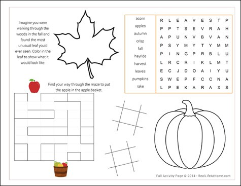 Free Fall Activity Page / Placemat Printable | RealLifeAtHome.com