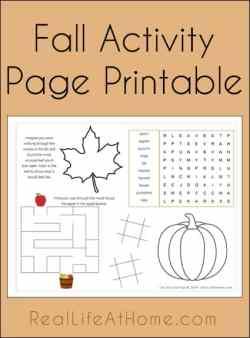 Free Fall Activity Page Printable | RealLifeAtHome.com
