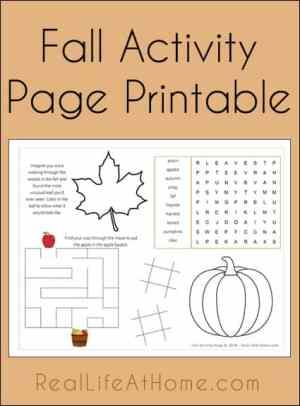 Free Fall Activity Page Printable | RealLifeAtHome.com