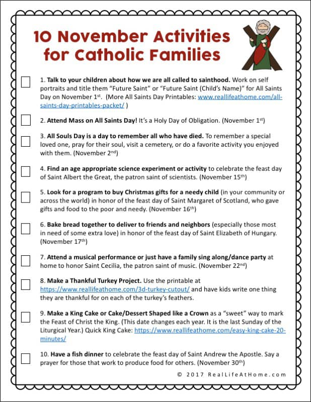 10 Activities for Catholic Families in November {Printable}