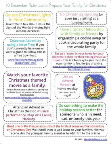 10 December Family Activities to Get Ready for Christmas Free Printable