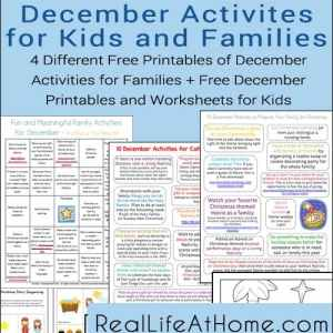 December Activities for Families and Kids: Free Printables | RealLifeAtHome.com