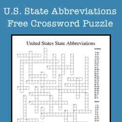 U.S. State Abbreviations Crossword Puzzle Free Printable for Kids and Teens