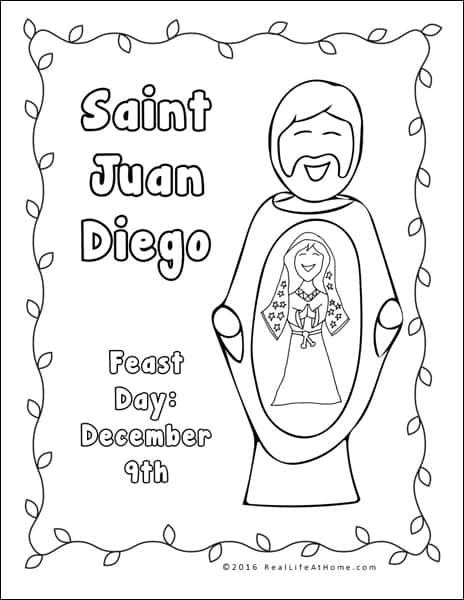 saint juan diego coloring page part of the our lady of guadalupe and st