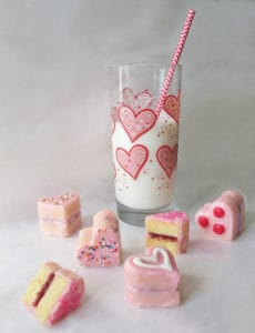 Heart Petit Fours with Raspberry Cordial Jam