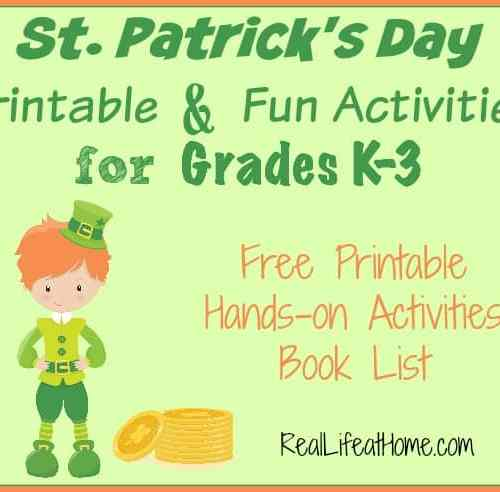 St. Patrick's Day Printable and Fun Activities for grades K - 3 {Free Printable Packet}