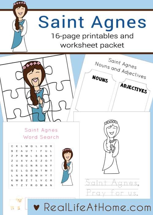 Saint Agnes Printables and Worksheet Packet
