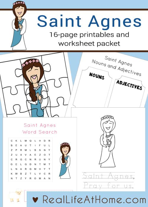 16-page Saint Agnes Printables and Worksheet Packet perfect for children in preschool through early elementary school