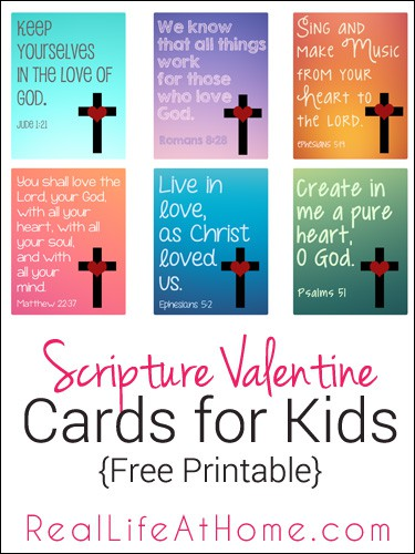 Free Printable Religious Valentine Cards for Kids #ReligiousValentines #ChristianValentines #ScriptureValentines